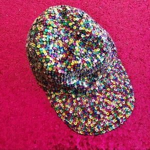 🌈VINTAGE Rainbow Sequin Beaded Ball Cap Hat